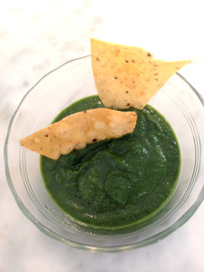 green pesto dressing with chips